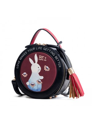 Cute Rabbit Tassel Drum Bag Small Round Shoulder Bag