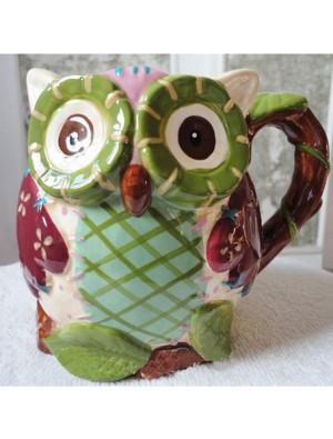 Hand-painted Cartoon Owl Reliefs Ceramics Cup