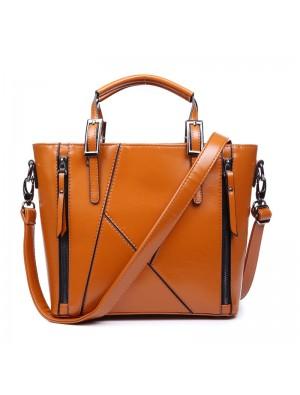 Fashion Geometry Stitching Leather Embossed Handbag&Shoulder Bag
