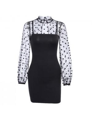 Sexy Stitching Long-Sleeved Black Polka Dot Dress Mesh Formal Dress