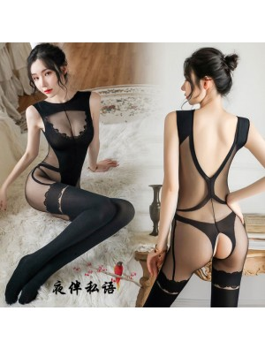 Sexy Bar Girl Wertical Stripe Open Crotch Stockings Perspective Conjoined Women's Lingerie