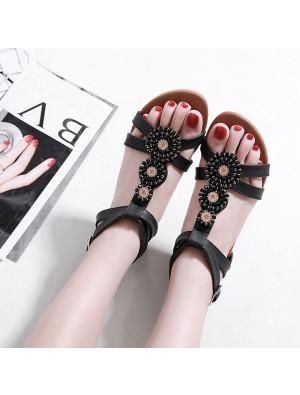 New Bohemian Beaded Rhinestone Flats Plus Size Summer Shoes Roman Sandals