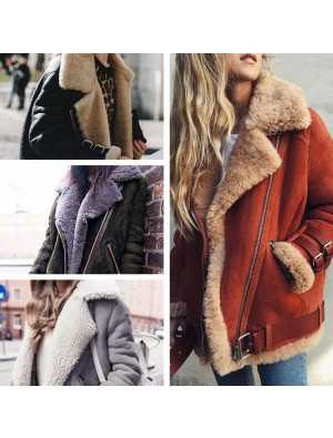 Elegant Short Fur Winter Warm Turnover Collar Women's Coat