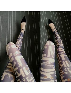 Fashion Girl's Tissue Designed Doodle Cartoon Printing Mesh Lace Ninth Leggings
