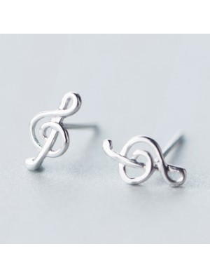 Simple Beauty of Line Silver Music Notes Sweet Women's Earring Studs