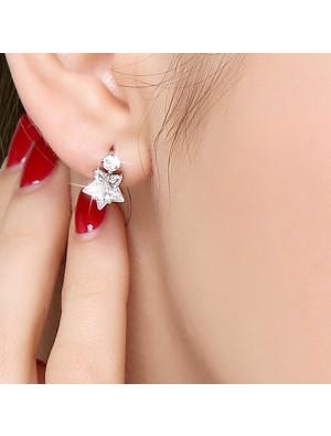 Fashion Crystal Diamond-bordered Eardrop Star Silver Women Earring Studs