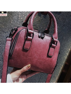 Retro Leisure Pillow Lady Simple Pure Color Handbag Shoulder Bag