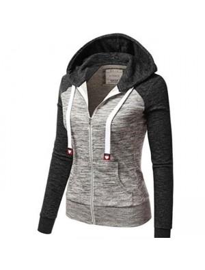 Leisure Hooded Stripe Drawstring Color Contrast Long Sleeve Tops Women Coat