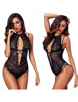 Sexy Lace Conjoined Black Flower Underwear Temptation Women Intimate Lingerie