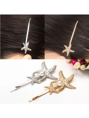 Fashion Conch Pearl Hairpin Clip Shell Starfish Hair Accessory