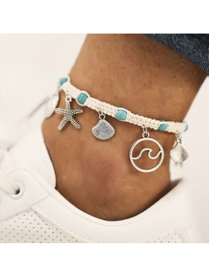 Cute Rope Starfish Wave Pattern Beach Foot Accessories Shell Pendant Anklet