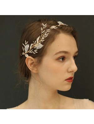 Unique Bridal Tree Branch Leaves Hair Band Crystal Wedding Hair Accessories