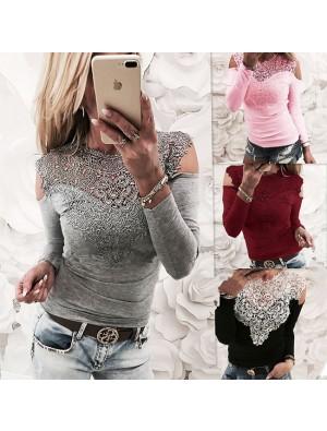 Sexy Off Shoulder Long Sleeve Women's Flower Splice Lace Tops