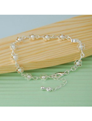Silver Plated Plum Bracelet Frosted Hollow Jewelry