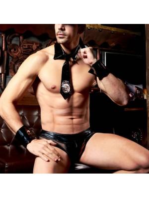 Sexy Policeman Uniform Temptation Leather Men's Cosplay Lingerie