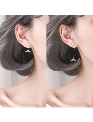 Sweet Pearl Mermaid Tail Diamond Silver Women Drop Earrings Studs