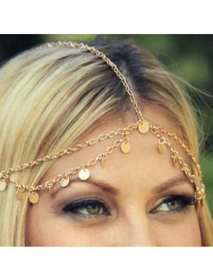 Cute Shiny Gold Piece Wave Tassel Chain Hair Accessory