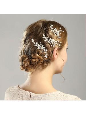Fashion Flower Pearl Branch Headband Wedding Hair Accessories Leaves Hair Clips