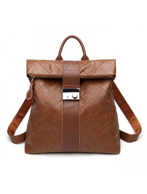 Retro Brown Multi-function Handbag PU College Backpack