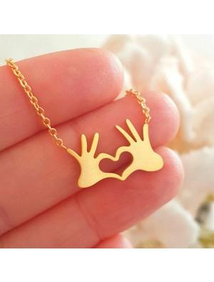 Unique Palm Slap Pendant Necklace Heart Love Sweater Necklace