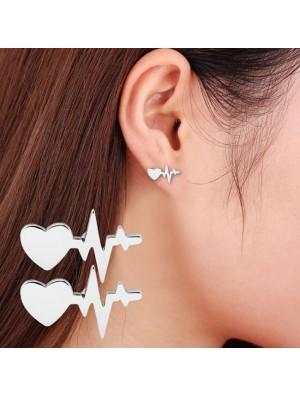 Romantic Women's Heartbeat Electrocardiogram Earrings Heart Love Earrings Studs