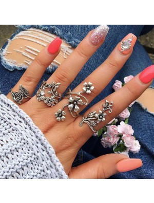 Retro Silver Forest Vine Personality Ancient Leaves Flowers Ring 4 Set