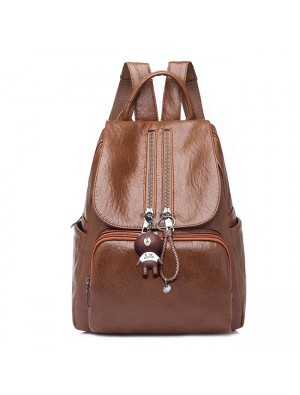 Retro Soft PU Ladies Double Zipper Brown School Bag Women's Backpack