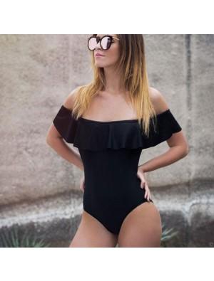 Sexy Stripe Lotus Leaf Bikinis Flounce Bare Shoulder One Piece Women's Swimsuit