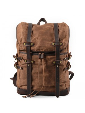 Retro Men's Double Leather Belt Waterproof Rucksack Outdoor Travel Backpack