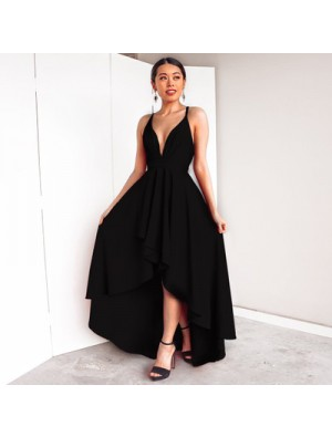 Elegant Women's Deep V Neck Straps Sexy High Low Prom Dresses Party Dress