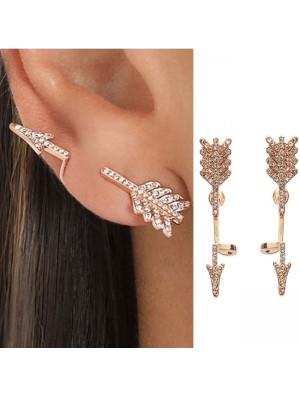 Punk 3D Diamond Exaggerated Split Arrow Earrings Studs