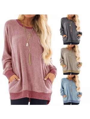 Leisure Long Sleeve Round Neck Pullover Sweatshirt T-shirt Tops Large Loose Women Coat
