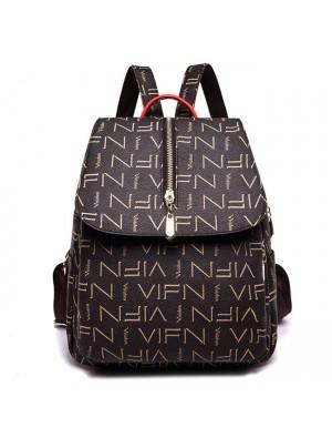 Retro Printing School Bag Vertical Zipper PU Large Women Student Backpack