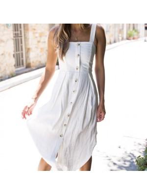 Fresh Sleeveless Strapless Button Strap Lady Long Dress