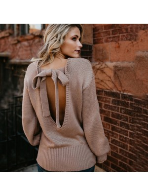 Fashion Women's Sleeve Back Bow Knitting Loose Long Wool Sweater