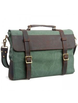 Retro Square Splicing Double Buton Mental Lock Leather Large Canvas Shoulder Bag