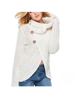 Unique Women's Irregular Coat Long Sleeve High Collar Wool Knitting Sweater