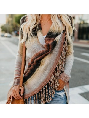 New Long Sleeve Tassel Loose Wool Shawl Women's Sweater