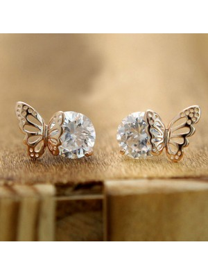 Exquisite Elegant Winky Zircon Hollow Golden Butterfly Earrings