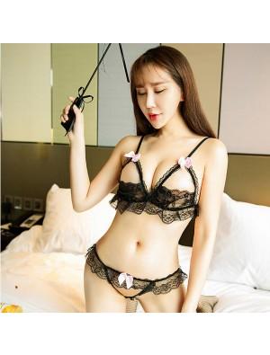 Sexy Lace Open Bra Set Underwear Bow Hollow Lace Sling Women Lingerie