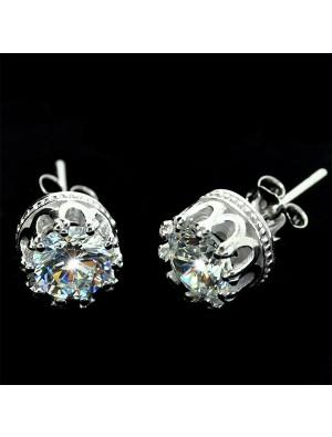 Pure Silver Transparent Crown Studs