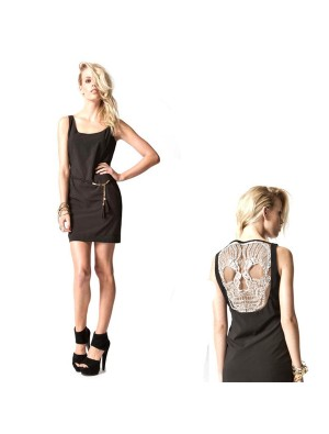 Unique Skull Openwork Lace Sleeveless Dress