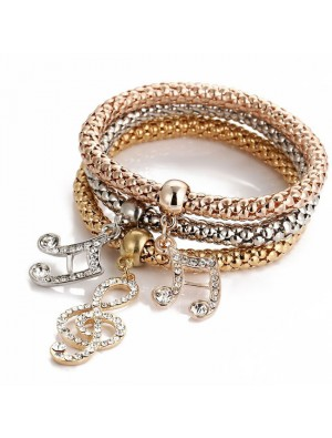 Fashion Anchor Elephant Music Note Butterfly Crown Drop Multi-layer Women Bracelet