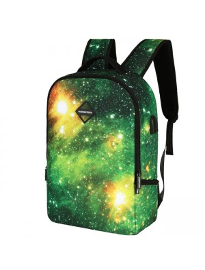 Unique Galaxy USB Charging Business Backpack Colorful Starry Sky School Bag Sport Backpack