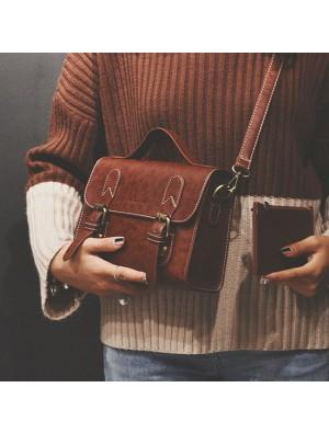 Retro Lady School Handbag Double Button Shoulder Bag