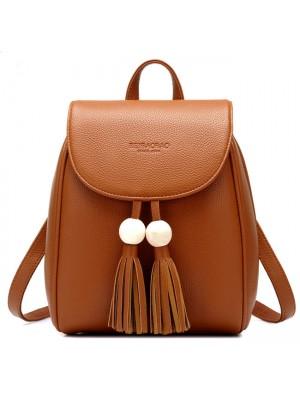 Leisure School Backpack Fashion PU Women Travel Tassels Bead Rucksack