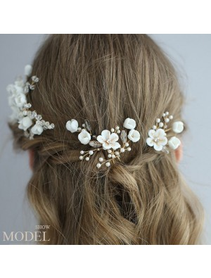 Fresh Bridal White Flower Branch Leaves Pearl Crystal Wedding Hair Band Hairpin Accessories