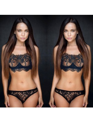 Sexy Temptation Flower Eyelash Lace Bra Set Black Perspective Underwear Lingerie
