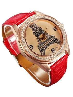 Retro Rhinestone Trim  Eiffel Tower Watch
