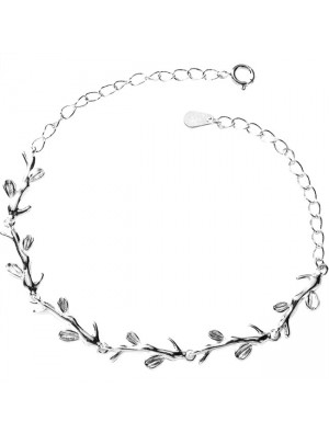 Cute Forest Style Leaves Lover Gift Accessories Women Bracelet Branch Silver Bracelet